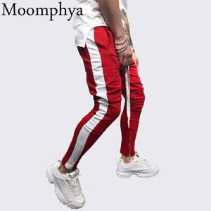 Moomphya lado Listrado homens corredores calças Streetwear hip hop homens sweatpants pantalon homme calças Finas calças com zíper