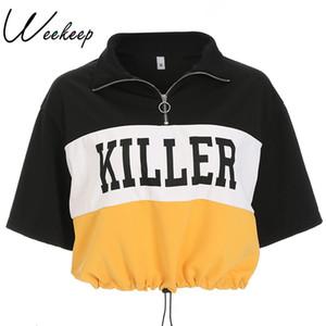 Weekeep Kadınlar Streetwear Kırpılmış Ayarlanabilir Bel t gömlek Yaz Mektup Baskı Patchwork tee gömlek femme 2018 Moda Gevşek Tops