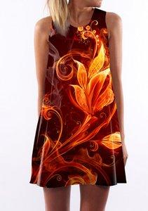 Горячая сексуальная-Line Dress женщины пламя печати цветок рукавов мини Dress O шеи огонь печати платья партии Женский клубная одежда черный