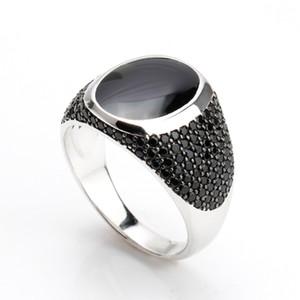 Anéis de epóxi preto do vintage para homens zircão pedra preta única jóia de prata 925 sterling silver mens Anel Masculino Muçulmano