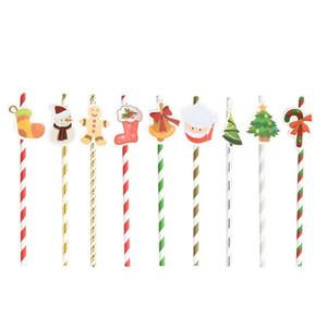 10 stücke 1 los Weihnachten Papierstrohe Frohe Weihnachten Party Supplies DIY Trinkhalme Party Event Lieferanten Stroh
