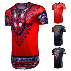 Африка Тотем печати Бандана футболка с коротким рукавом Мода фолк-пользовательских Геометрическая Рубашка мужская повседневная Hip-Hop Tops 2018 Горячая продажа мужской одежды
