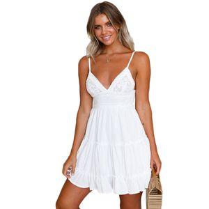 2020 новые летние женские платья плюс размер Boho платья кружевные платья для женщин европейского и американского стиля платье строп Exy стропа кружева, женщины