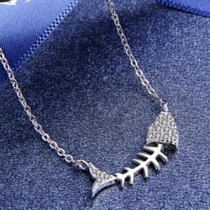 bijoux S925 argent sterling pour les femmes Fishbone simple collier pendentif mode chaud gratuit de l'expédition