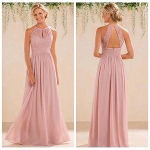 2018 Cheap A Line Lace Top Chiffon Bridesmaid Dresses Long Floor Length Backless Long Summer Beach Garden Wedding Guest Honor Of Maid