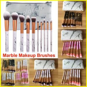 2018 Marble Makeup Brushes 10pcs set + Borsa in pelle Strumenti di bellezza Blush Powder Sopracciglio Eyeliner pennello da trucco Powde Foundation brushes