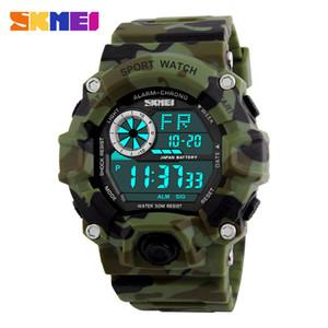 SKMEI 패션 군대 그린 카 모 PU 밴드 군사 스포츠 시계 1019 50M 방수 충격 LED 디지털 안전 경고 손목 시계