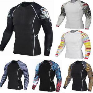 Оптово Muscle Men Compression футболка с длинным рукавом мужская одежда Спортивные костюмы мужские леггинсы сыпь охранник Мужские CrossFit футболки