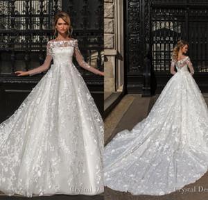 2018 bellissimi abiti da sposa di design con maniche lunghe girocollo girocollo pieno pizzo abiti da sposa appliqued Sweep Train Custom Made