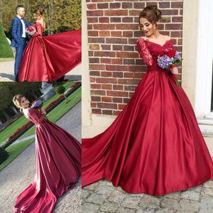 2019 Vestidos De Novia Red Scoop Neck Abiti da sposa in raso di pizzo maniche lunghe corte abiti da sposa con bordino E18