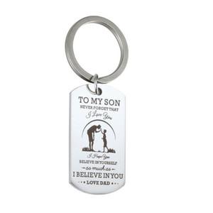 Geschenk für Sohn, zu meinem Sohn Hund Tag Keychain Military Vaters Day Familie Liebe Edelstahl Silber Tag Keychain
