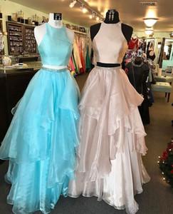 Горячие продажи Sexy Two Piece / 2 Piece Simple Peach / Blue Prom Dresses вечерние платья для женщин в наличии