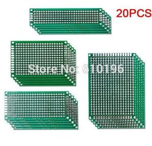 20PCS / LOT 5x7 4x6 3x7 2x8 CM Prototipo de PCB de cobre de doble cara Desarrollo experimental para Arduino