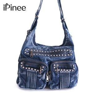 iPinee Moda Denim Jean Çanta Kadın Birden Cepler Omuz Çantaları Diamante Kadın Çantaları Bolsas D18102407