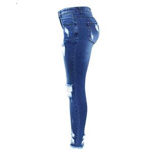 Moda de Nova Ultra elástico azul Tassel Ripped Jeans Mulher Denim Pants Zipper Calças voar por Mulheres Lápis Skinny Jeans