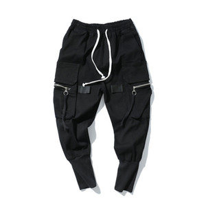 Harem flojo pantalones para hombre de Hip Hop de los pantalones largos de los pantalones vaqueros streetwear de la moda cintura elástico de los pantalones vaqueros negros High Street Jeans