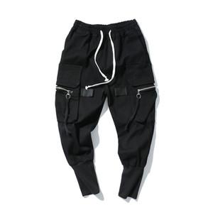 Harem allentato pantaloni da uomo Hip Hop pantaloni lunghi jeans Streetwear Moda elastico in vita jeans neri High Street Jeans