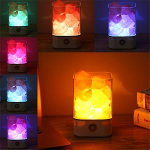 Noche de cristal de sal del Himalaya USB Luz de Cristal Rock Salt lámpara táctil Swich purificador de aire multi-función de luz de la noche de la lámpara Ambiente