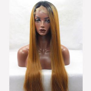 Cosplay peruk Sarışın Kahverengi Ombre Peruk Uzun Düz Ucuz Kadınlar Sentetik Peruk ön Dantel Saç Siyah 27 # 30 # Için Beyaz / Siyah Kadınlar