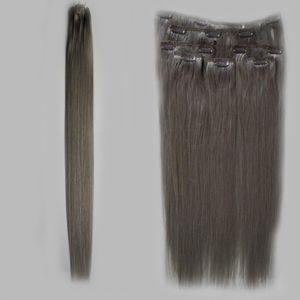 Clip In Human Hair Extension 8 Pcs / Set extensiones de cabello rubio ceniza 100g / Set gris clip en extensiones de cabello