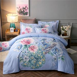2018 꽃 푸른 공작 침구 세트 샌딩 코튼 Bedlinens 퀸 킹 사이즈 Duvet 커버 세트 Bedsheet Pillowcases