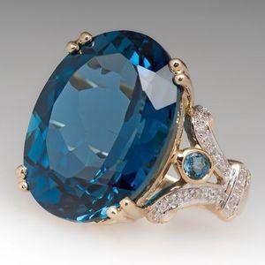 La moda grande de piedra ovalada Crystal Eternity Promise anillo de compromiso de boda para mujer joyería regalos R725