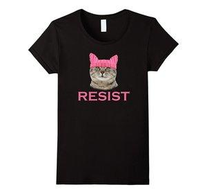 T Resistência das mulheres Persistir Buceta Gatinho Chapéu T-shirt de Impressão das Mulheres T Camisa Do Punk Para Senhora Kawaii Coreano Marca Bonito Top Tee Juventude