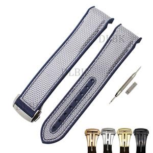 20mm 22mm männer frauen blau wasserdicht tauchen silikonkautschuk naht silber plane uhrenarmband mit edelstahl schnalle für omega