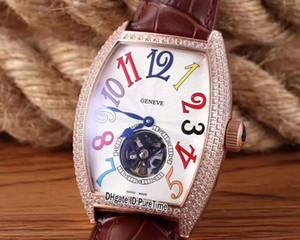 Новые грандиозные осложнения AETERNITAS розовое золото бриллиантовый безель белый циферблат цвет автоматический турбийон мужские часы кожаные часы Lxuury 77b2