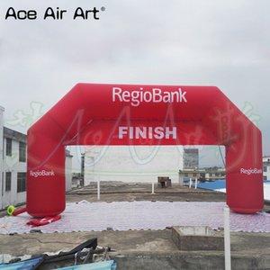 Customized Red Banners Arco inflável Banco Finish para a entrada de corrida com Iniciar Esporte removível Arch, Atlético Linha Bank, gigante Hjupr