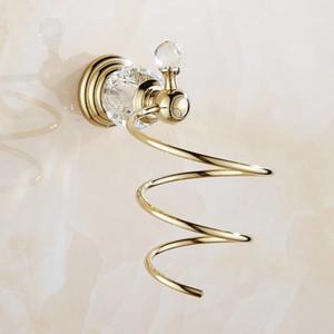 Полки для ванной комнаты латунь Кристалл ванная комната Настенная полка настенный фен для хранения фен поддержка спиральная подставка Holde