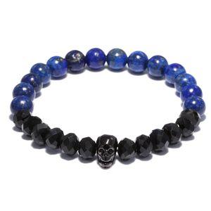 Natural Lapis Lazuli Stone  Bracelet For Women Skull Black Bracelet Men Energy Prayer Yoga Strand Dropshipping