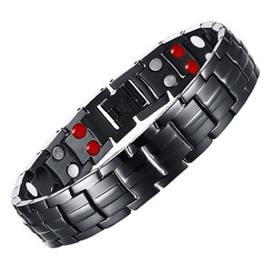 شركة (ليتل فروغ ديس) للشحن (Mens 316L Stainl Steel Germanium Balance Energy Care Magnetic Power Health Bangles 10142