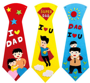 Kreative Kind Student DIY Krawatte Vater Vater Geburtstag Geschenke Handgemachte Krawatte Cartoon Neckcloth Kinder Party Neujahr Persönlichkeit Krawatte