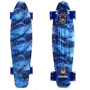 CL-94 impression bleu skateboard étoilé ciel skateboard complet 22 pouces retro cruiser longboard pour le sport en plein air