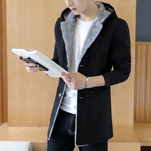 MYAZHOU 2018 Yeni Kış Yün Ceket Erkekler Eğlence Uzun Bölümler Yün Palto erkek Saf Renk Rahat Moda Ceketler Casual Palto