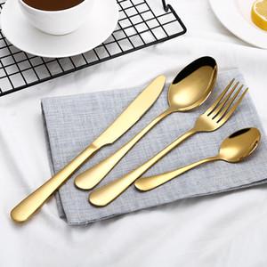 4 шт/комплект золото цвет нержавеющей стали наборы посуды Посуда нож вилка ложка роскошный набор столовых приборов набор посуды