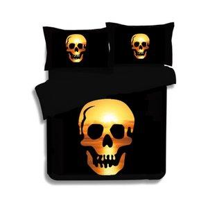 Estilo europeo 4 unids Conjuntos de ropa de cama Traje de moda Cráneo Funda de almohada Tamaño de la reina Funda nórdica Fundas de edredón de lujo Práctico Suave fácil de llevar 114bj4