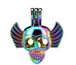 5 unids / lote Rainbow Alloy Halloween Skull Wing Beads Jaula colgante cuento de hadas del partido del aceite esencial difusor C172