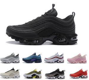2018 Air Top Nike air max 97 97s Plus zapatos al aire libre Mujeres Hombres Negro Amarillo Champagne Zapatillas de deporte de oro Chaussure TN Running Sports tamaño 36-45