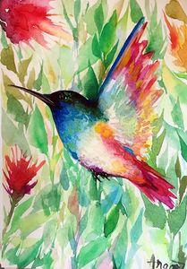 Arte dell'uccello ronzio di Angor, dipinto a mano / HD stampa astratta animale arte della parete pittura a olio su tela.Multi formati personalizzati / cornice A110