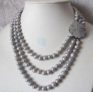 """SPEDIZIONE GRATUITA 17 """"7-8mm 3Row Silver Silver Pearl Necklace Necklace Shell Clasp Jewelry"""