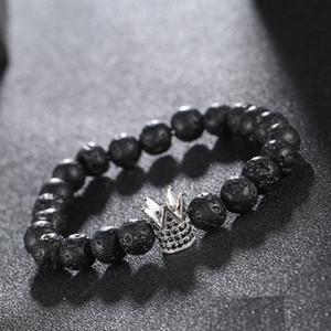 Braccialetti di pietra della lava degli uomini del braccialetto di fascino della corona nera di re zircone micro per le donne degli uomini Trasporto libero