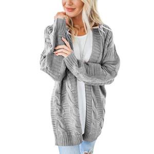 2018 OLGITUM новых женщин длинные кардиганы Осень Зима открытым стежком вязание свитер кардиганы V шеи негабаритных кардиган пальто SW707