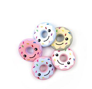 Lächeln Donut Silikon Beißring Lebensmittelqualität Baby Silikon Perlen DIY Kinderkrankheiten Spielzeug Halskette Anhänger Donut Kauen Beißringe