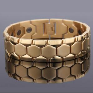 21.3cm * 17.8mm Mode Hommes Femmes Titanium acier Bracelets En Acier De Tungstène Bilan Energétique Magnétique Argent / Or Plaqué Bijoux De Santé
