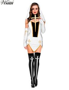 Nuevo traje de monja sexy para mujer adulta cosplay con medias con capucha blanca para la fiesta de disfraces de halloween hermana cosplay s19706
