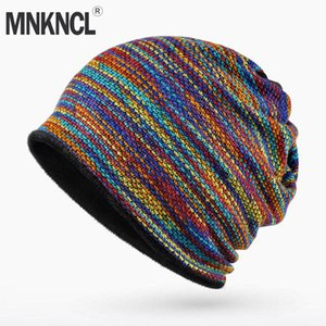 Cappello di inverno MNKNCL marca degli uomini Bone maglia Velvet Berretti degli uomini di Hip-Hop Cap Turbante Cappelli Skullies Balaclava cappelli per le donne Gorros