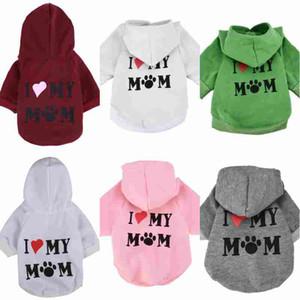 Pet Clothes Puppy Winter Felpa con cappuccio Cappotto per cane Felpa calda Love My Mom Printed Dog Shirt