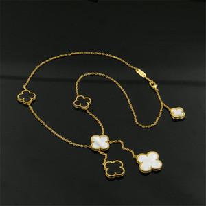 Mulheres Flores Colares do Ladies Gold Plated Correntes de aço inoxidável 316L colares Moda Branca Colar Flower Agate